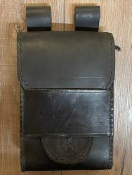 Tasche - Leder - LC3018 Gürteltasche mit Lasche - schwarzes Leder