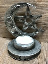 Kerzenständer - Teelichthalter Mond & Pentagramm