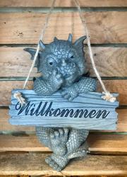 Gartenstatue - Drache Willkommen zum Hängen (in & outdoor)