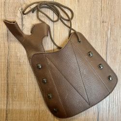 Leder - Bogenschützen Armschutz mit Handschutz - braun