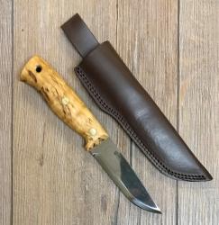 Helle Messer - Temagami - Outdoormesser - rostfrei Griff aus Maserbirke, Lederscheide mit Gürtelschlaufe