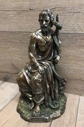 Statue - Aesculap/ Hippokrates mit Stab und Schlange - griechischer Gott der Heilkunst - bronziert - Dekoration - Ritualbedarf