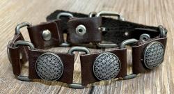 Armband - Leder - Blume des Lebens aus Zinn - braun