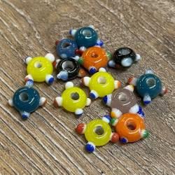 Perlen - Glasperlen - Augenperlen flach - klein - Wickelperle Wikinger Haithabu Birka