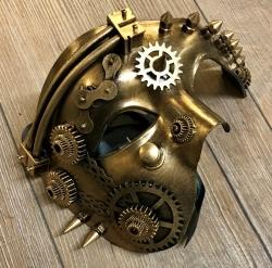 Steampunk - Maske mit Kunstseidenband - Dreiviertelmaske