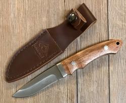 PUMA TEC Messer - Gürtelmesser Stahl 420 - Rosenholz-Griffschalene - braune Lederscheide