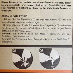 Baladéo Feuerstarter Magnesium, Ferrocerieum (Auermetall), Stahlplättchen mit Sägezahnung