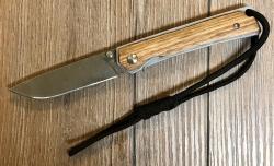 Baladeo Messer - Einhandmesser AMARILLO Damast Look - Stahl AISI 420, Liner Lock - titanbeschichtet - Öse & Kordel