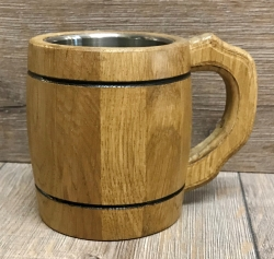 Holz Krug - Bierhumpen mit Metall Inlay - hell - 0,3l - Bierkrug