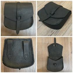 Tasche - Leder - Gürteltasche genäht - groß - schwarz