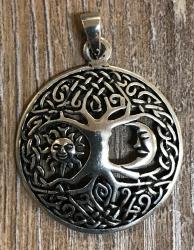 Anhänger - Lebensbaum mit Sonne & Mond - 925er Silber