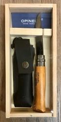 Opinel Carbon - Nr. 08 - Buche Geschenkset - Kunstleder-Etui, Holzbox