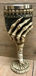 Kelch mit Stahleinsatz - Skeletthand - gothik