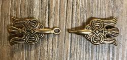 Schließe aus Metall - Gewand - Odins Raben Hugin & Munin - Bronze