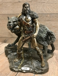 Statue - Tyr und Fenris Wolf - nordischer Gott des Krieges - Dekoration - Ritualbedarf