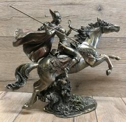 Statue - Walküre/ Walkyre auf Pferd mit Speer - bronziert - neu - Dekoration - Ritualbedarf