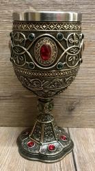 Kelch mit Stahleinsatz - Der Heilige Gral - Weinkelch - bronziert
