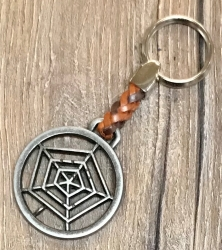 Schlüsselanhänger - Spinnennetz mit geflochtenem Lederband - Keyring