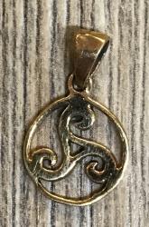 Anhänger - keltisch - Triskele im Kreis klein (1cm) - Bronze