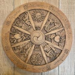 Plaque - Wandtafel - Wandschmuck - Jahresrad - Wheel of the year - Holzoptik