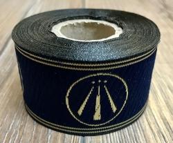 33 Borte AWEN OBOD- Druiden Symbol - 33mm breit - 5m Rolle - marineblau/ gold - OBOD ADF Druiden