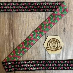 33 Blumen 4-farbig - 33mm breit - 5m Rolle - schwarz/ gold, rot, grün