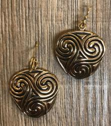 Ohrringe - Ohrhänger keltisch - Triskele massiv - Bronze