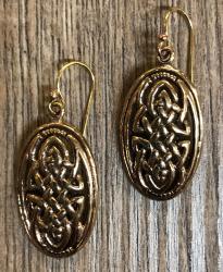 Ohrringe - Ohrhänger keltischer Knoten Oval - Bronze