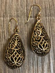 Ohrringe - Ohrhänger keltischer Knoten Tropfen 3D - Bronze