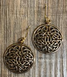 Ohrringe - Ohrhänger keltischer Knoten rund A - Bronze
