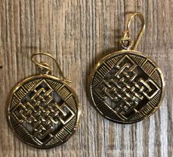 Ohrringe - Ohrhänger keltischer Knoten rund C - Bronze