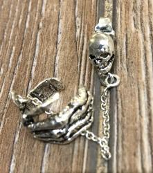Ohrringe - Ohrklemme Skelett-Hand/ Skeleton Hand - 925er Silber - einzeln