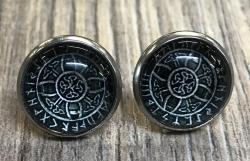 Ohrringe - Ohrstecker keltisches Kreuz Glas Cabochon - Metall - einzeln