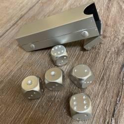 Würfel - Würfel aus Aluminium in Metallröhre 5er Set - silber 16mm x 16mm