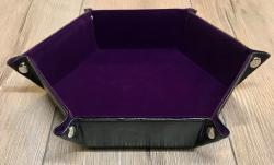 Würfel - Würfelschale Hexagon - Dice tray - Kunstleder 30cm x 30cm - lila