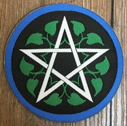 Aufnäher Patch Aufkleber - gewebt - Pentagramm/ Blätterranke - 8cm