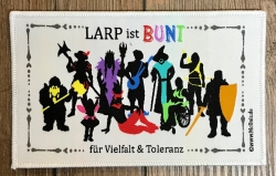 Aufnäher - LARP ist BUNT für Vielfalt & Toleranz - weiss