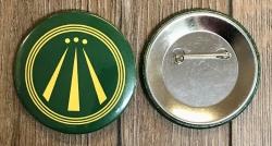 Button 59mm - AWEN - OBOD Druiden Symbol - grün