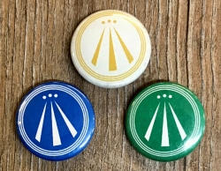 Button 25mm - AWEN - OBOD Druiden Symbol - blau