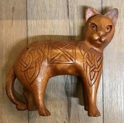 Statue - Echtholz - keltische Katze - MANJA - groß