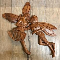 Plaque - Wandschmuck - Echtholz - Fairy/ Fee/ Elfe - Elfenliebe