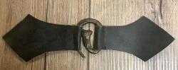 Mantelschließe Fuchs mit Leder - schwarz