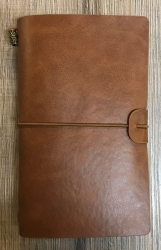 Notizbuch - Diary - Gummiband & Kartenhülle - 17cm x 11cm x 2,5 cm - hellbraun