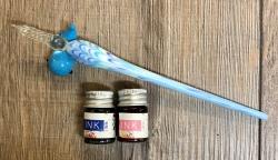 Schreibfeder - Glasfeder - gedreht inkl. Halter & Tinte, geliefert in Geschenkbox - blau