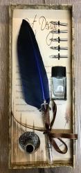 Schreibzeug - Historische Schreibfeder inkl. 6 Federn, Halter & Tintenfass (leer), geliefert in Geschenkbox - blau