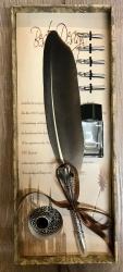 Schreibzeug - Historische Schreibfeder inkl. 6 Federn, Halter & Tintenfass (leer), geliefert in Geschenkbox - grau