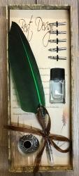 Schreibzeug - Historische Schreibfeder inkl. 6 Federn, Halter & Tintenfass (leer), geliefert in Geschenkbox - grün