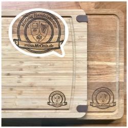 Holz Brett - Schneidebrett aus Buche, Blattform, mit Griff, natur - individuelle Lasergravur möglich