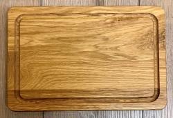 Holz Brett - Schneidebrett aus Eiche Massivholz, rechteckig, mit Saftrille - 30cm x 20cm - individuelle Lasergravur möglich