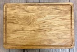 Holz Brett - Schneidebrett aus Eiche Massivholz, rechteckig, mit Saftrille - 45cm x 30cm - individuelle Lasergravur möglich